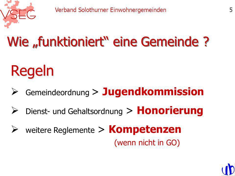 Wie funktioniert eine Gemeinde ? Verband Solothurner Einwohnergemeinden5 Regeln Gemeindeordnung > Jugendkommission Dienst- und Gehaltsordnung > Honori