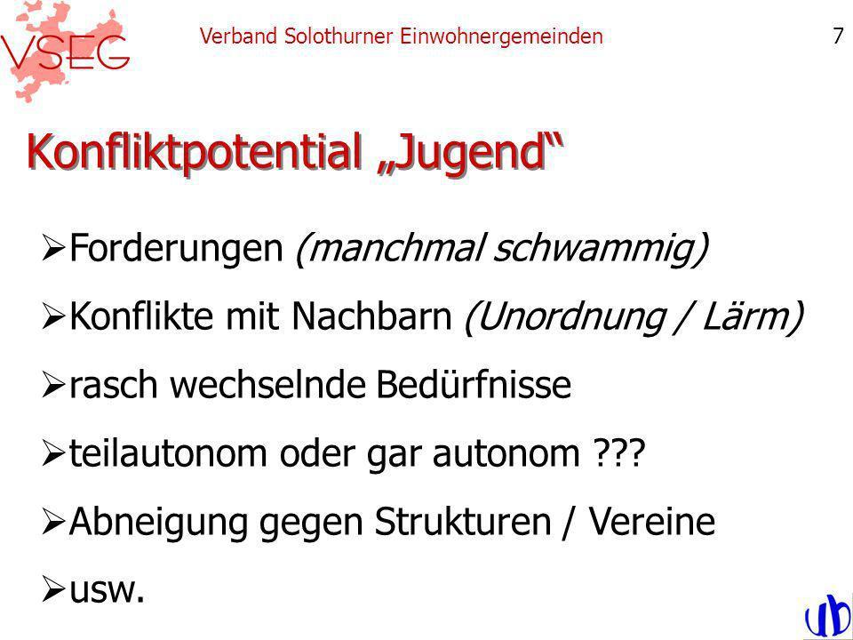 Konfliktpotential Jugend Verband Solothurner Einwohnergemeinden7 Forderungen (manchmal schwammig) Konflikte mit Nachbarn (Unordnung / Lärm) rasch wechselnde Bedürfnisse teilautonom oder gar autonom .