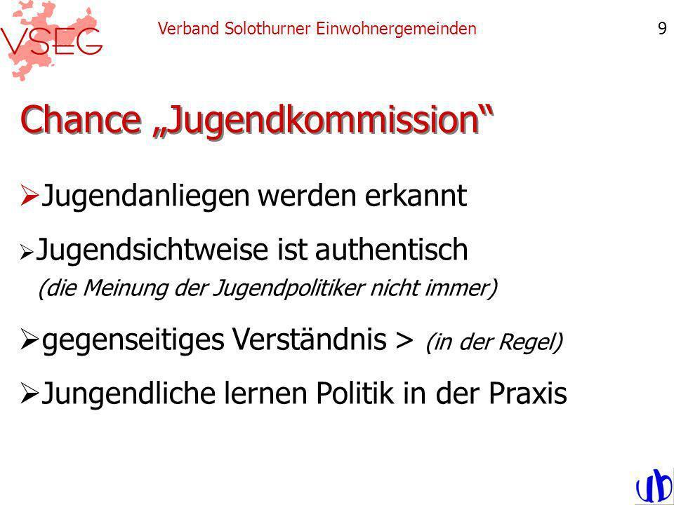 Chance Jugendkommission Verband Solothurner Einwohnergemeinden9 Jugendanliegen werden erkannt Jugendsichtweise ist authentisch (die Meinung der Jugendpolitiker nicht immer) gegenseitiges Verständnis > (in der Regel) Jungendliche lernen Politik in der Praxis