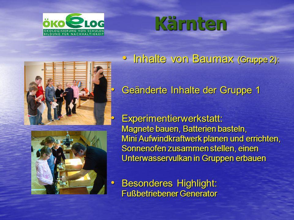 Kärnten Kärnten Inhalte von Baumax (Gruppe 2): Inhalte von Baumax (Gruppe 2): Geänderte Inhalte der Gruppe 1 Geänderte Inhalte der Gruppe 1 Experiment