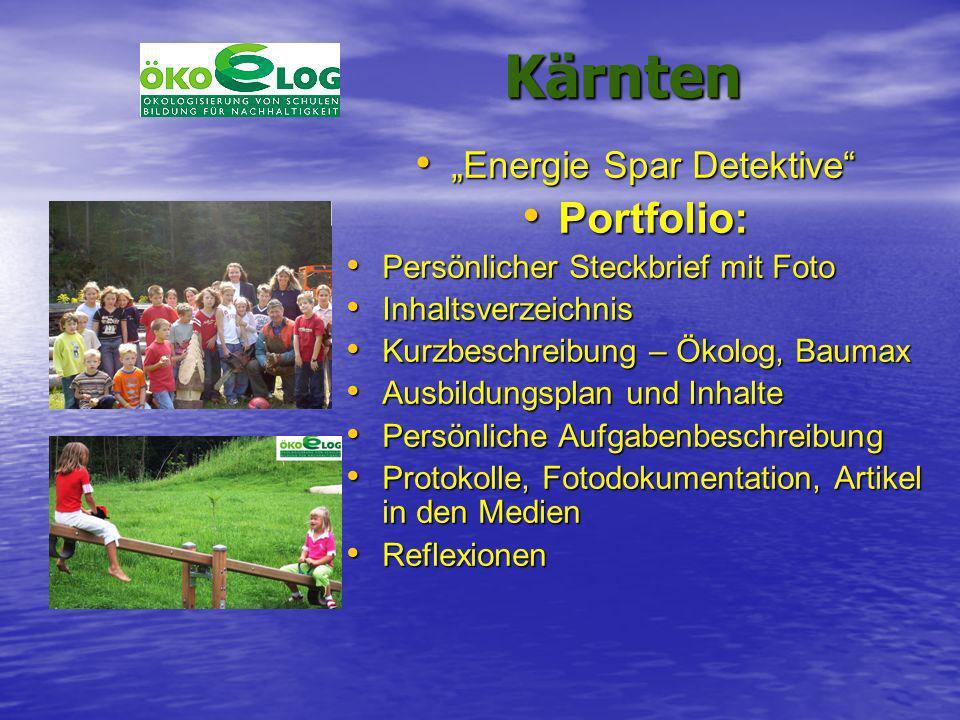 Kärnten Kärnten Energie Spar Detektive Energie Spar Detektive Portfolio: Portfolio: Persönlicher Steckbrief mit Foto Persönlicher Steckbrief mit Foto