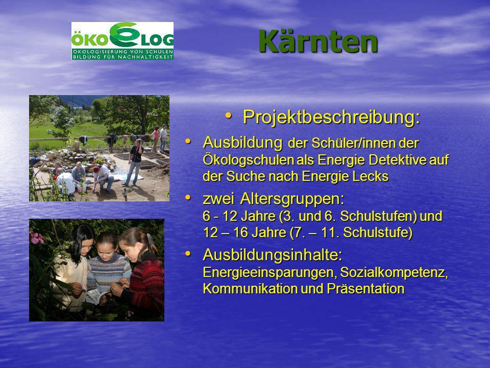 Kärnten Kärnten Projektbeschreibung: Projektbeschreibung: Ausbildung der Schüler/innen der Ökologschulen als Energie Detektive auf der Suche nach Ener