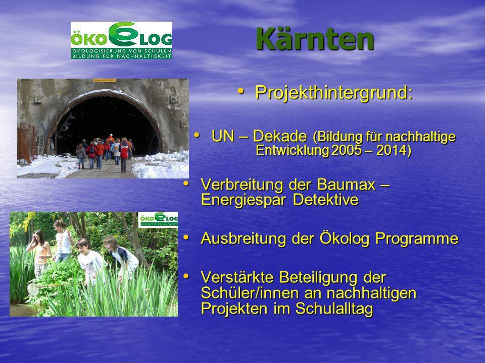 Kärnten Kärnten Projekthintergrund: Projekthintergrund: UN – Dekade (Bildung für nachhaltige Entwicklung 2005 – 2014) UN – Dekade (Bildung für nachhal