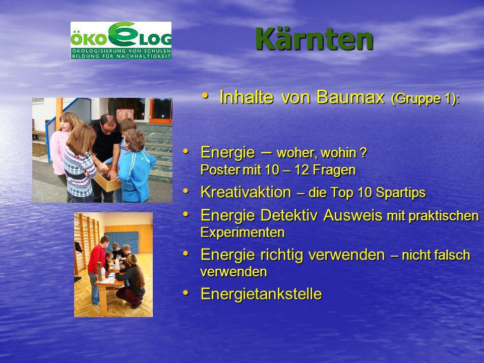 Kärnten Kärnten Inhalte von Baumax (Gruppe 1): Inhalte von Baumax (Gruppe 1): Energie – woher, wohin ? Poster mit 10 – 12 Fragen Energie – woher, wohi