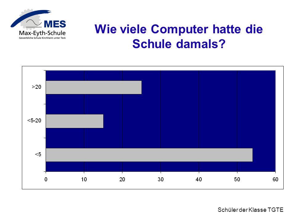 Schüler der Klasse TGTE Wie viele Computer hatte die Schule damals?