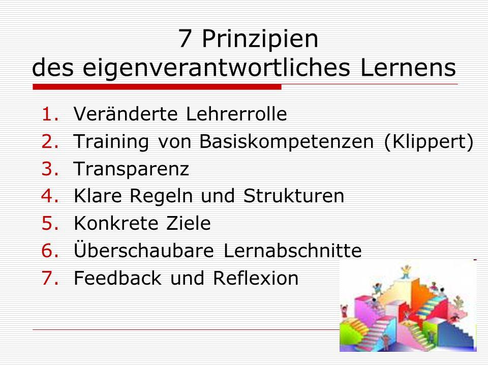 7 Prinzipien des eigenverantwortliches Lernens 1.Veränderte Lehrerrolle 2.Training von Basiskompetenzen (Klippert) 3.Transparenz 4.Klare Regeln und Strukturen 5.Konkrete Ziele 6.Überschaubare Lernabschnitte 7.Feedback und Reflexion