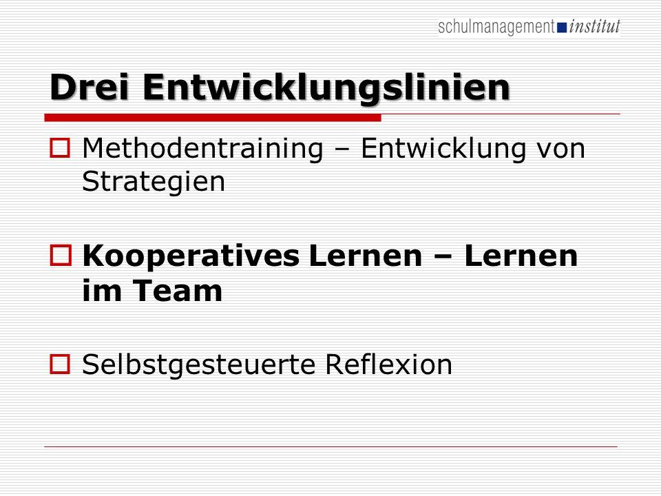 Drei Entwicklungslinien Methodentraining – Entwicklung von Strategien Kooperatives Lernen – Lernen im Team Selbstgesteuerte Reflexion