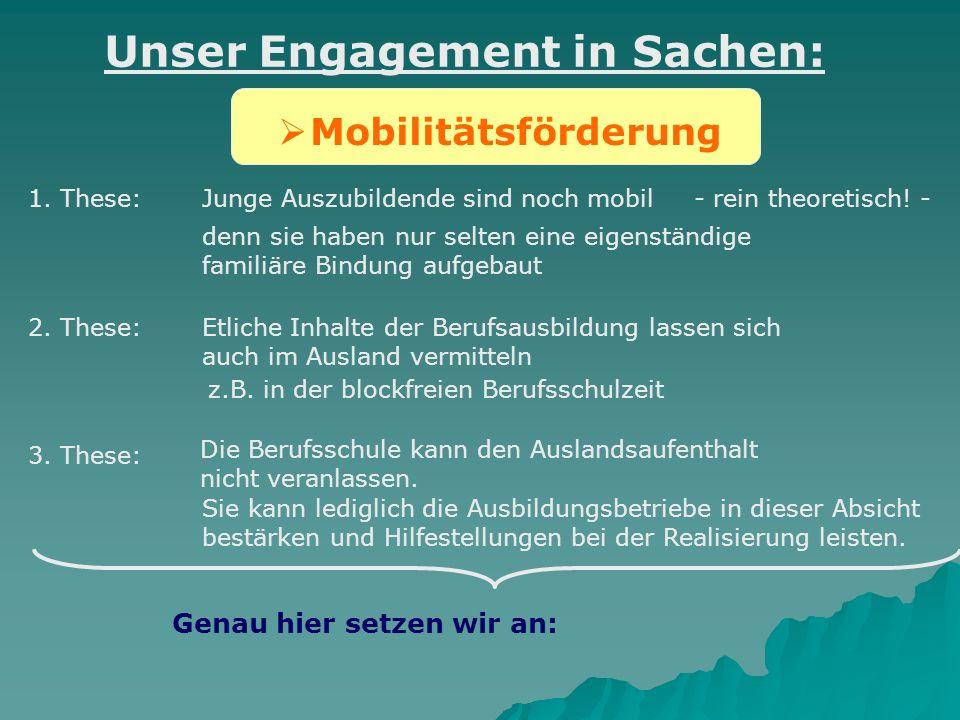 Mobilitätsförderung Unser Engagement in Sachen: Junge Auszubildende sind noch mobil- rein theoretisch! - denn sie haben nur selten eine eigenständige