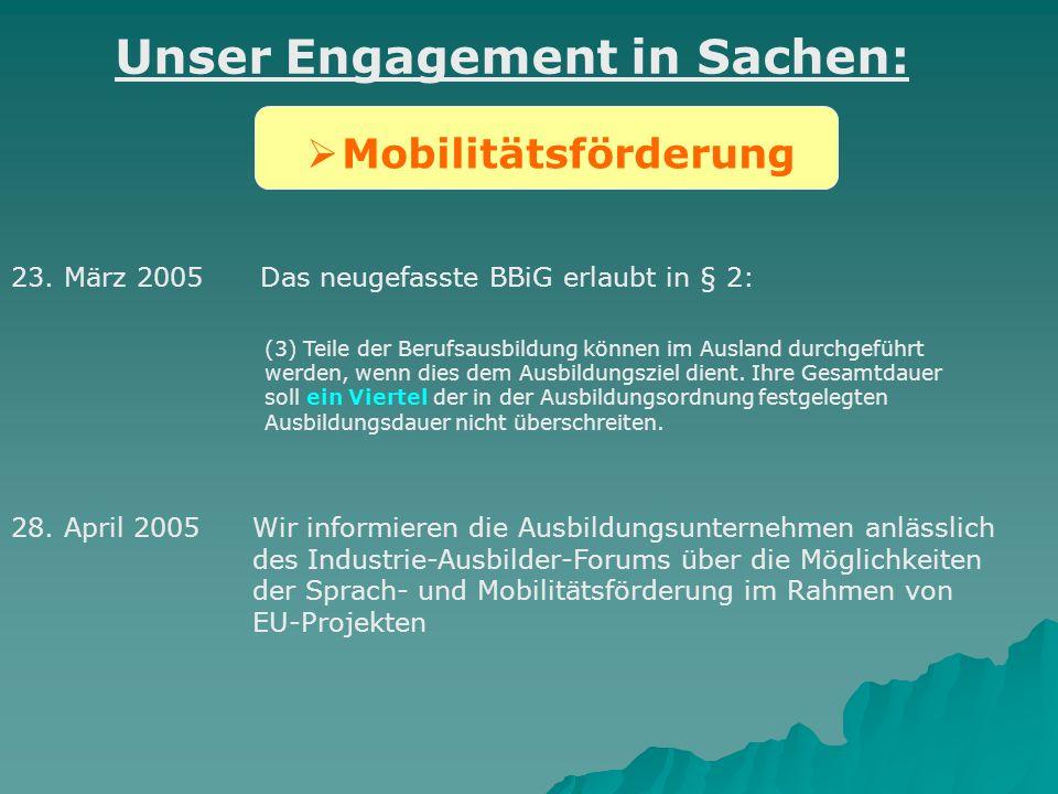 Mobilitätsförderung Unser Engagement in Sachen: 28. April 2005Wir informieren die Ausbildungsunternehmen anlässlich des Industrie-Ausbilder-Forums übe