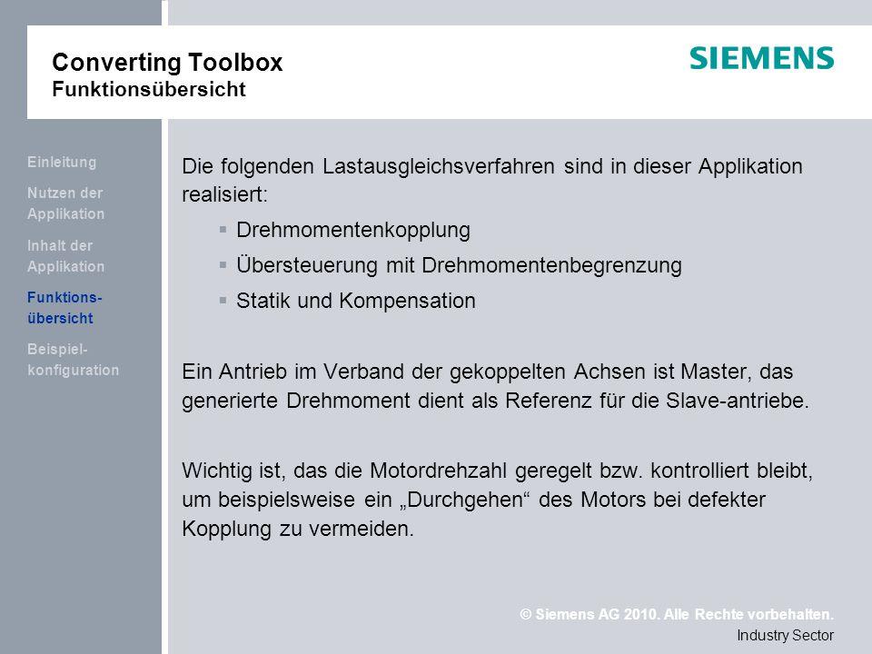 © Siemens AG 2010. Alle Rechte vorbehalten. Industry Sector Beispiel- konfiguration Funktions- übersicht Inhalt der Applikation Nutzen der Applikation