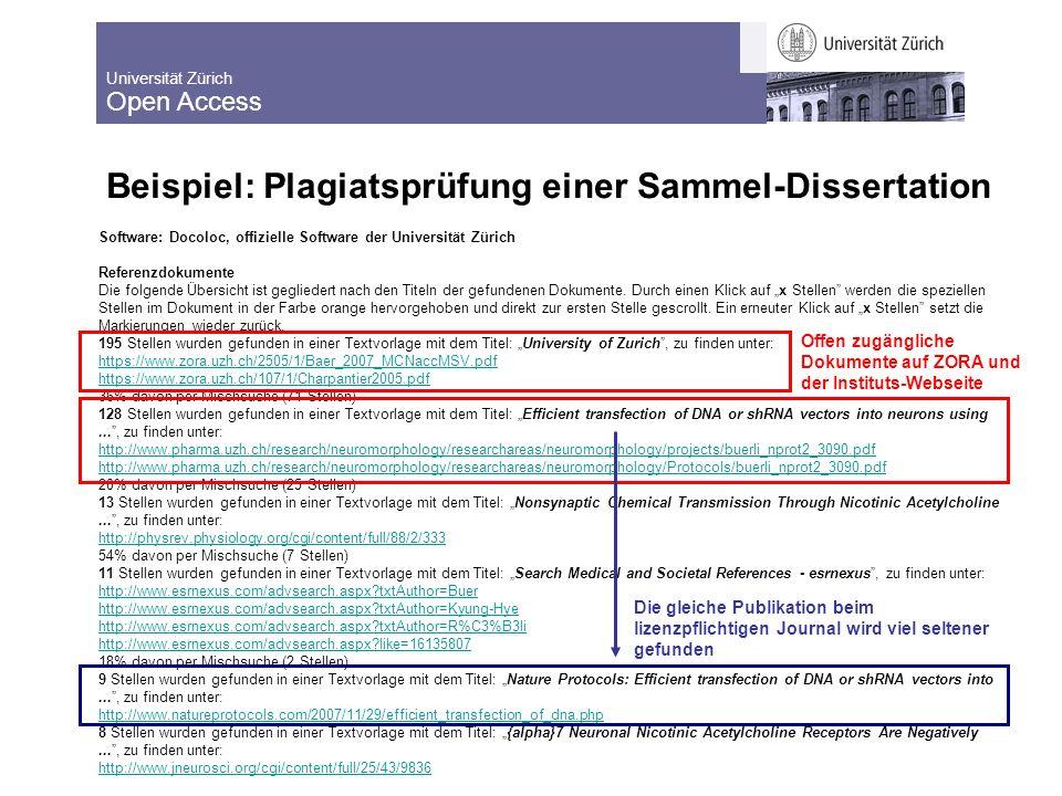 Universität Zürich Open Access 13 Beispiel: Plagiatsprüfung einer Sammel-Dissertation Software: Docoloc, offizielle Software der Universität Zürich Referenzdokumente Die folgende Übersicht ist gegliedert nach den Titeln der gefundenen Dokumente.