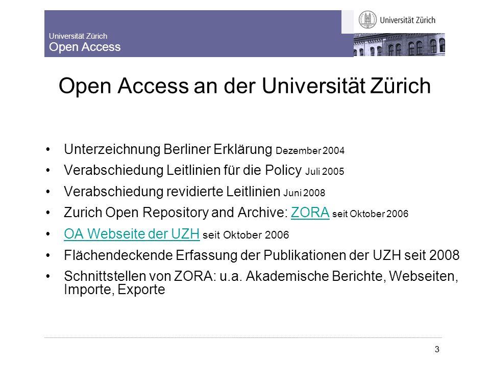 Universität Zürich Open Access 8.9.2009 Lernende Bibliothek 2009 3 Editoren Kurs ZORA chf 1.12.2008 3 Open Access an der Universität Zürich Unterzeichnung Berliner Erklärung Dezember 2004 Verabschiedung Leitlinien für die Policy Juli 2005 Verabschiedung revidierte Leitlinien Juni 2008 Zurich Open Repository and Archive: ZORA seit Oktober 2006ZORA OA Webseite der UZH seit Oktober 2006OA Webseite der UZH Flächendeckende Erfassung der Publikationen der UZH seit 2008 Schnittstellen von ZORA: u.a.