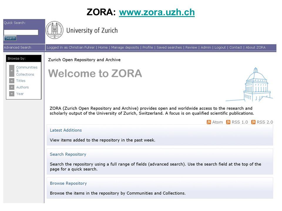 Universität Zürich Open Access 8.9.2009 Lernende Bibliothek 2009 44 ZORA: www.zora.uzh.chwww.zora.uzh.ch