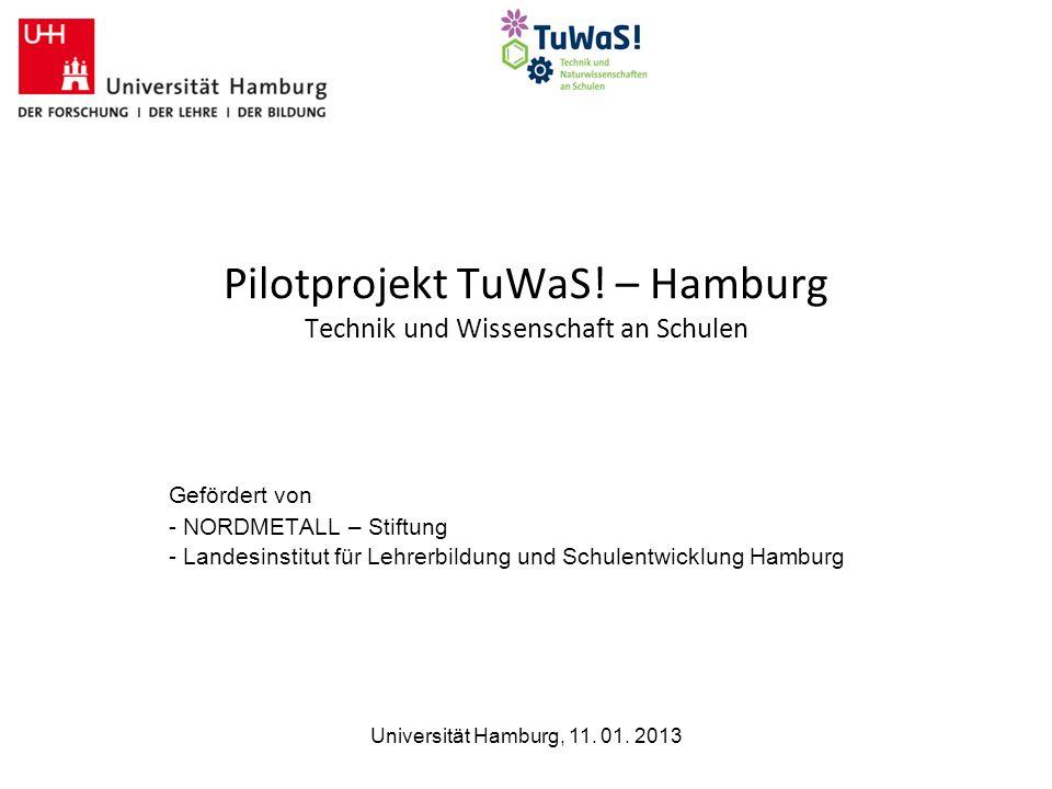 Universität Hamburg, 11. 01. 2013 Pilotprojekt TuWaS! – Hamburg Technik und Wissenschaft an Schulen Gefördert von - NORDMETALL – Stiftung - Landesinst