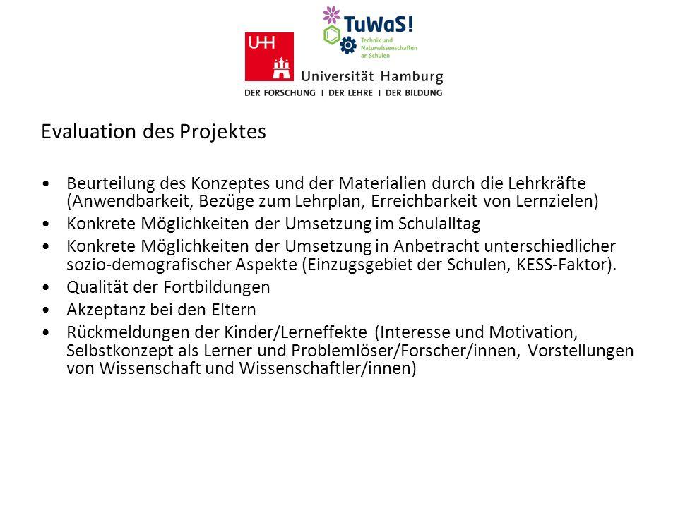 Evaluation des Projektes Beurteilung des Konzeptes und der Materialien durch die Lehrkräfte (Anwendbarkeit, Bezüge zum Lehrplan, Erreichbarkeit von Le