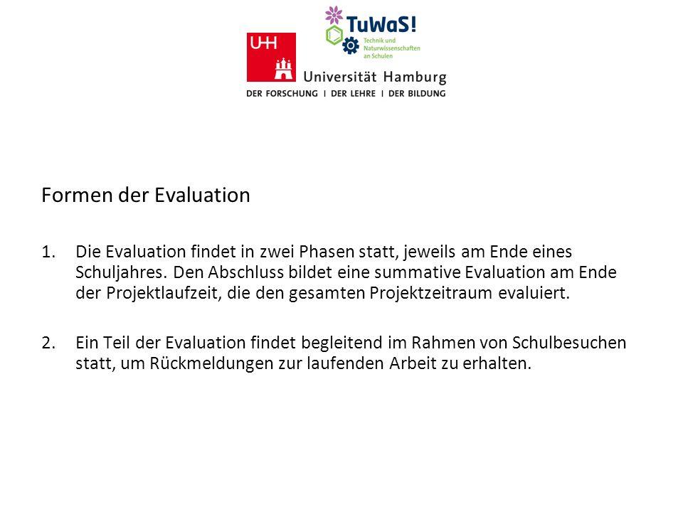 Formen der Evaluation 1. Die Evaluation findet in zwei Phasen statt, jeweils am Ende eines Schuljahres. Den Abschluss bildet eine summative Evaluation