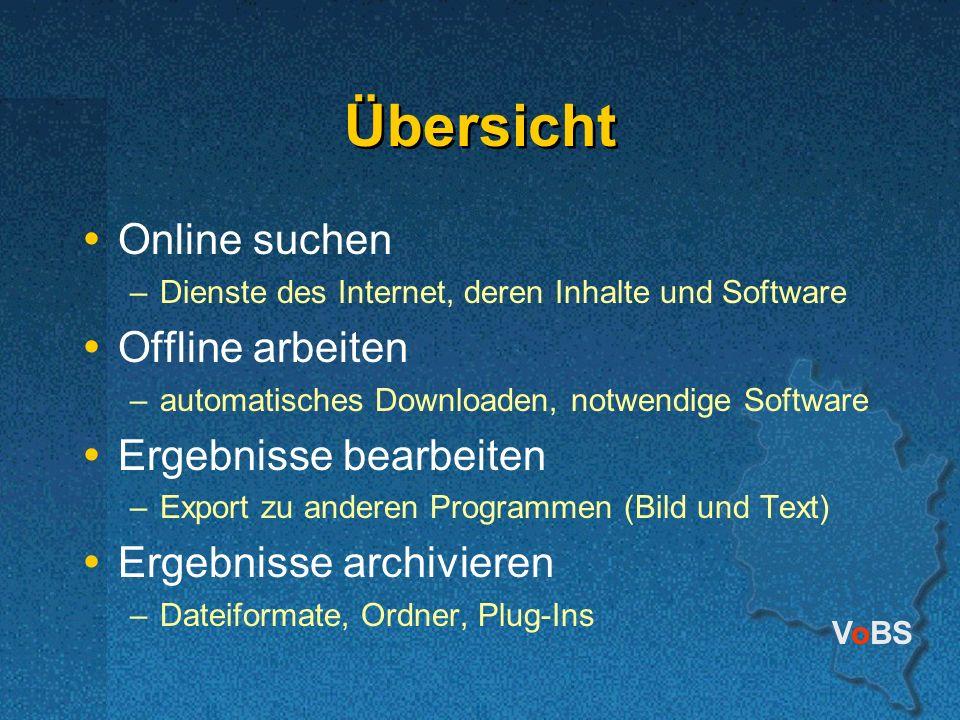 VoBS Übersicht Online suchen –Dienste des Internet, deren Inhalte und Software Offline arbeiten –automatisches Downloaden, notwendige Software Ergebni