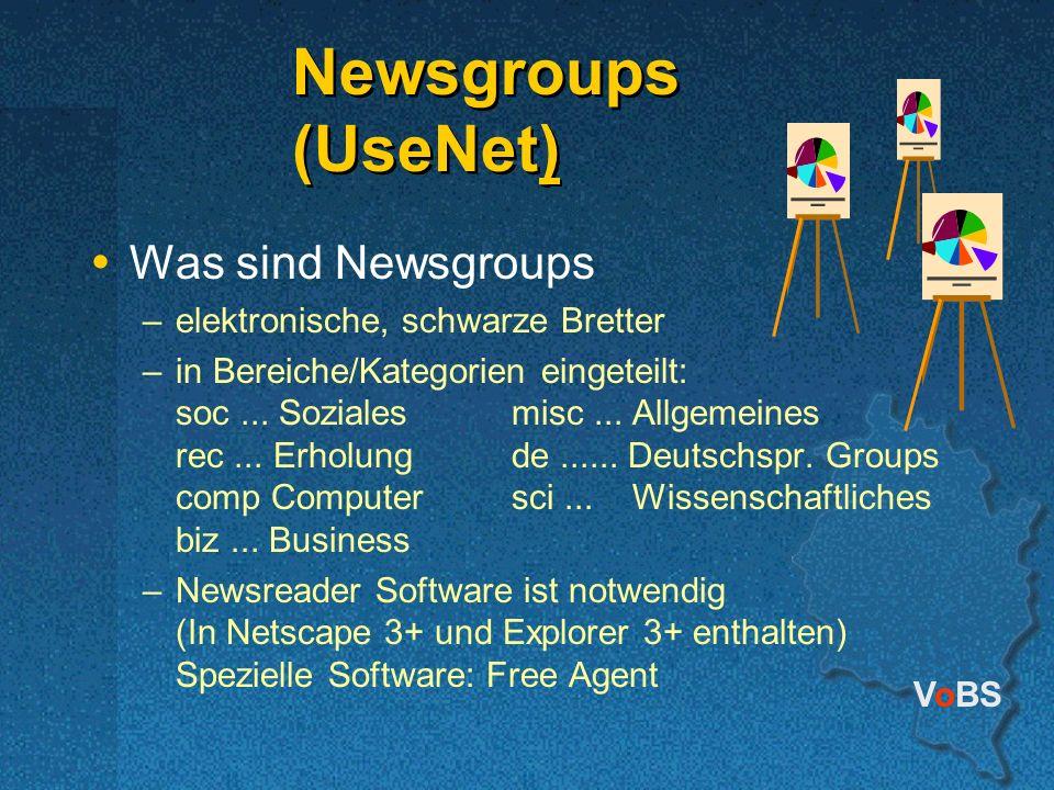 VoBS Newsgroups (UseNet) Newsgroups (UseNet) Was sind Newsgroups –elektronische, schwarze Bretter –in Bereiche/Kategorien eingeteilt: soc... Sozialesm