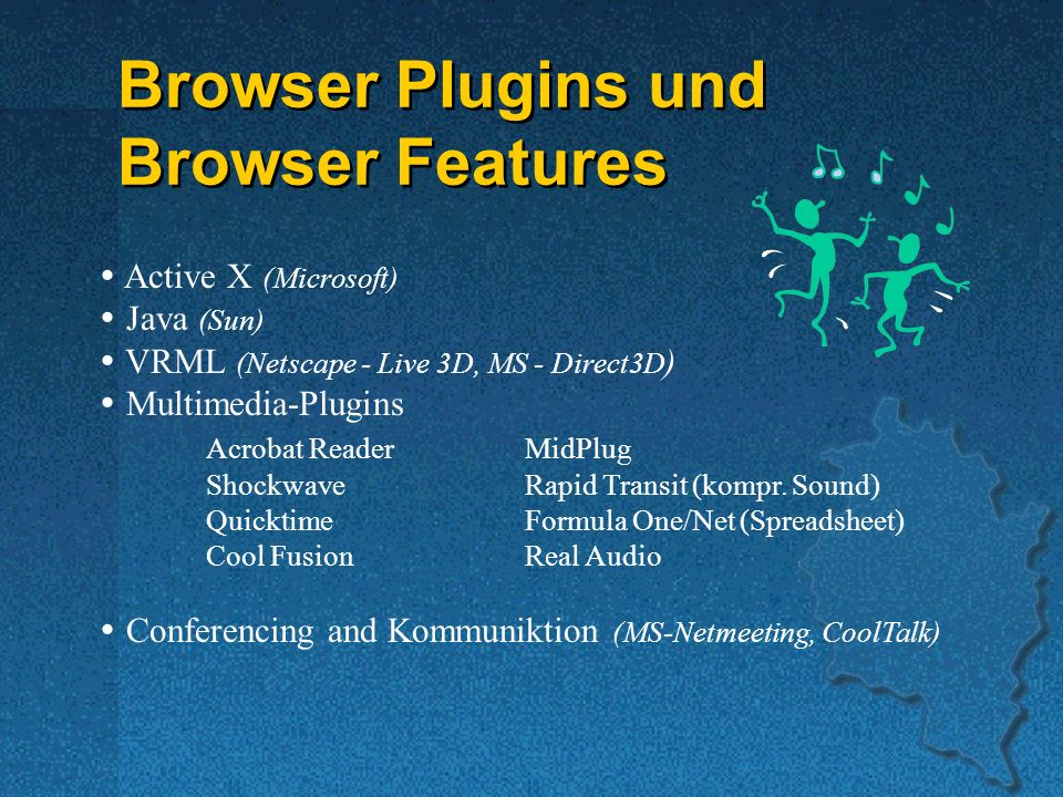 Browser Plugins und Browser Features Browser Plugins und Browser Features Active X (Microsoft) Java (Sun) VRML (Netscape - Live 3D, MS - Direct3D ) Multimedia-Plugins Acrobat ReaderMidPlug ShockwaveRapid Transit (kompr.