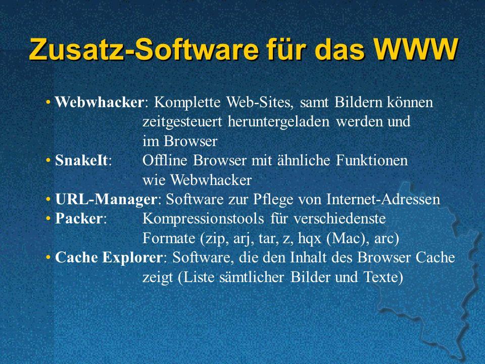 Zusatz-Software für das WWW Webwhacker: Komplette Web-Sites, samt Bildern können zeitgesteuert heruntergeladen werden und im Browser SnakeIt:Offline Browser mit ähnliche Funktionen wie Webwhacker URL-Manager: Software zur Pflege von Internet-Adressen Packer:Kompressionstools für verschiedenste Formate (zip, arj, tar, z, hqx (Mac), arc) Cache Explorer: Software, die den Inhalt des Browser Cache zeigt (Liste sämtlicher Bilder und Texte)