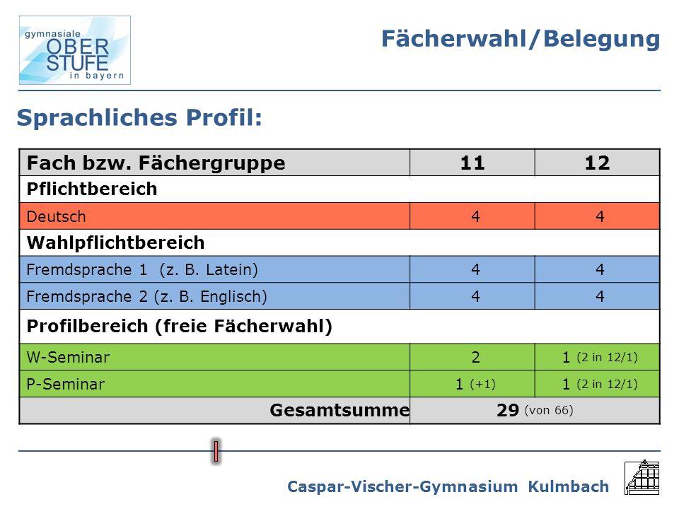 Caspar-Vischer-Gymnasium Kulmbach Sprachliches Profil: Fach bzw. Fächergruppe1112 Pflichtbereich Deutsch44 Wahlpflichtbereich Fremdsprache 1 (z. B. La