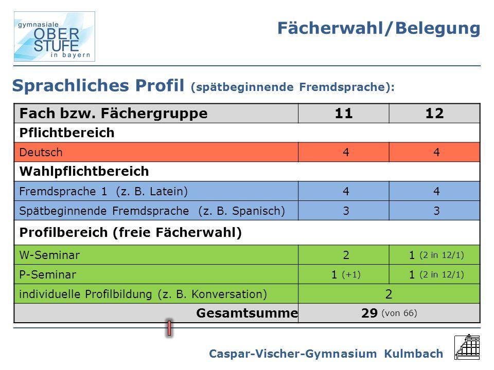 Caspar-Vischer-Gymnasium Kulmbach Sprachliches Profil (spätbeginnende Fremdsprache): Fach bzw. Fächergruppe1112 Pflichtbereich Deutsch44 Wahlpflichtbe