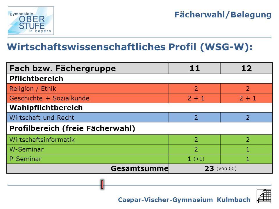 Caspar-Vischer-Gymnasium Kulmbach Wirtschaftswissenschaftliches Profil (WSG-W): Fach bzw. Fächergruppe1112 Pflichtbereich Religion / Ethik22 Geschicht