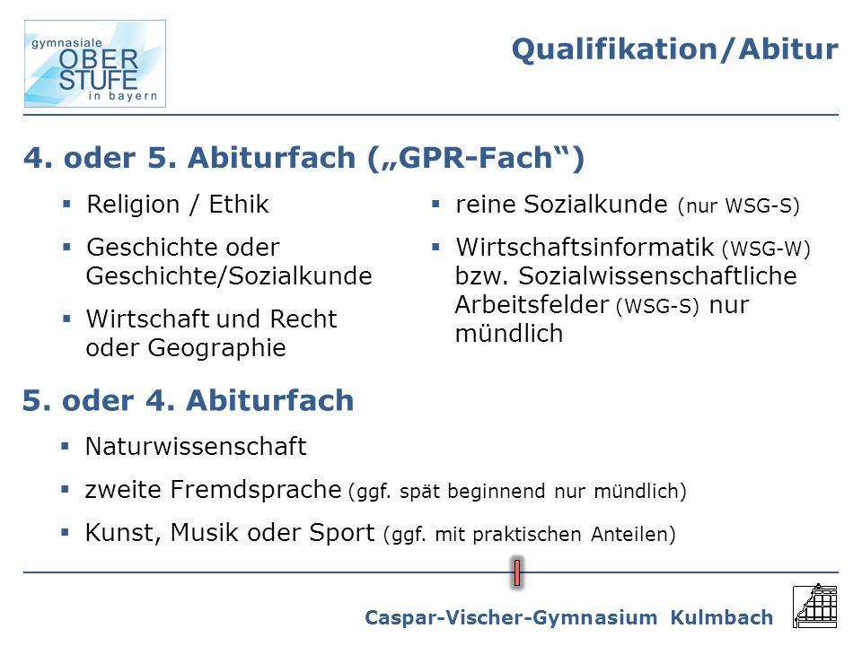 Caspar-Vischer-Gymnasium Kulmbach 4. oder 5. Abiturfach (GPR-Fach) Religion / Ethik Geschichte oder Geschichte/Sozialkunde Wirtschaft und Recht oder G