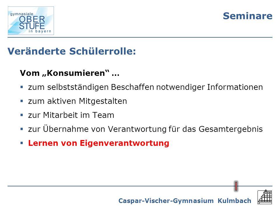 Caspar-Vischer-Gymnasium Kulmbach Seminare Veränderte Schülerrolle: Vom Konsumieren … zum selbstständigen Beschaffen notwendiger Informationen zum akt