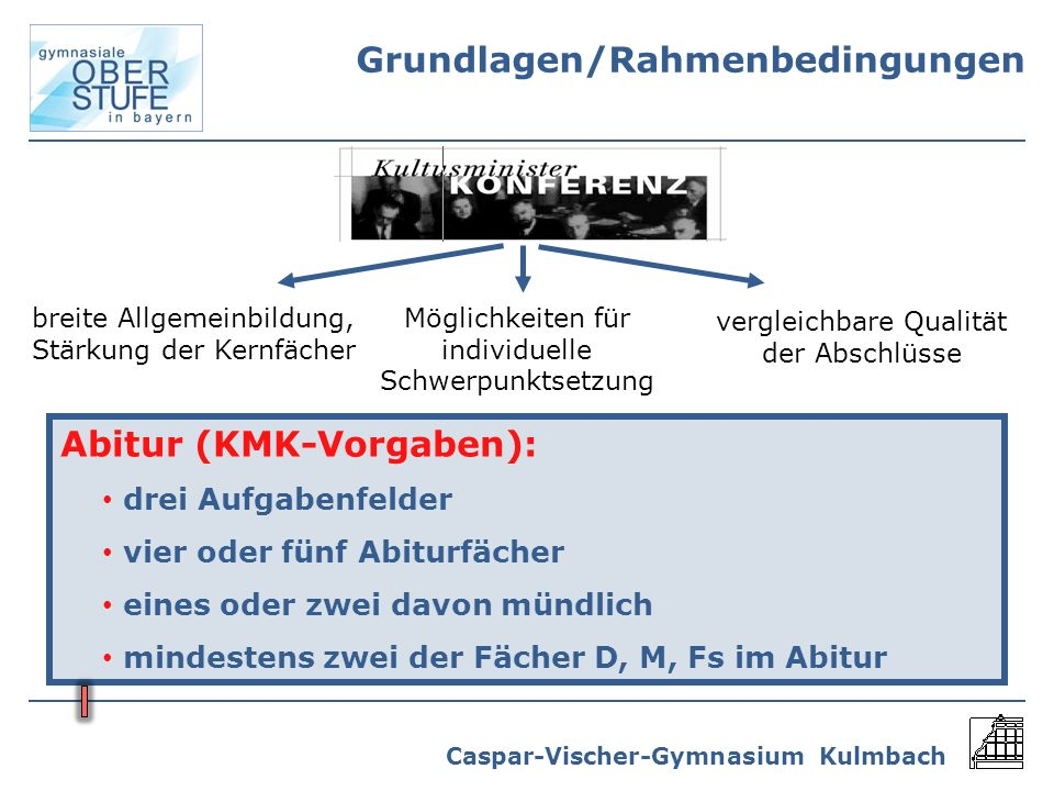 Caspar-Vischer-Gymnasium Kulmbach Wochenstundenzahlen BayernBWHessenThür.Sachsen 5 - 10200 - 204204198 - 200198202 Stundenzahlen je Jahrgangsstufe 31 - 34/3630 - 3630 - 3531 - 3431 - 35 11 - 1266 mind.