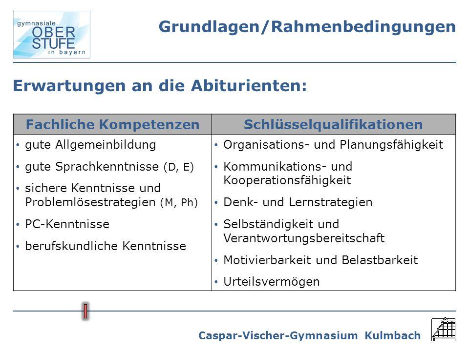 Caspar-Vischer-Gymnasium Kulmbach Erwartungen an die Abiturienten: Fachliche KompetenzenSchlüsselqualifikationen gute Allgemeinbildung gute Sprachkenn