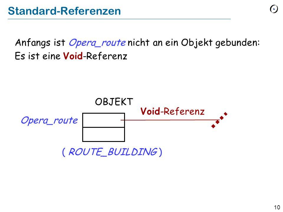 10 Standard-Referenzen Anfangs ist Opera_route nicht an ein Objekt gebunden: Es ist eine Void-Referenz OBJEKT Opera_route Void-Referenz ( ROUTE_BUILDING )