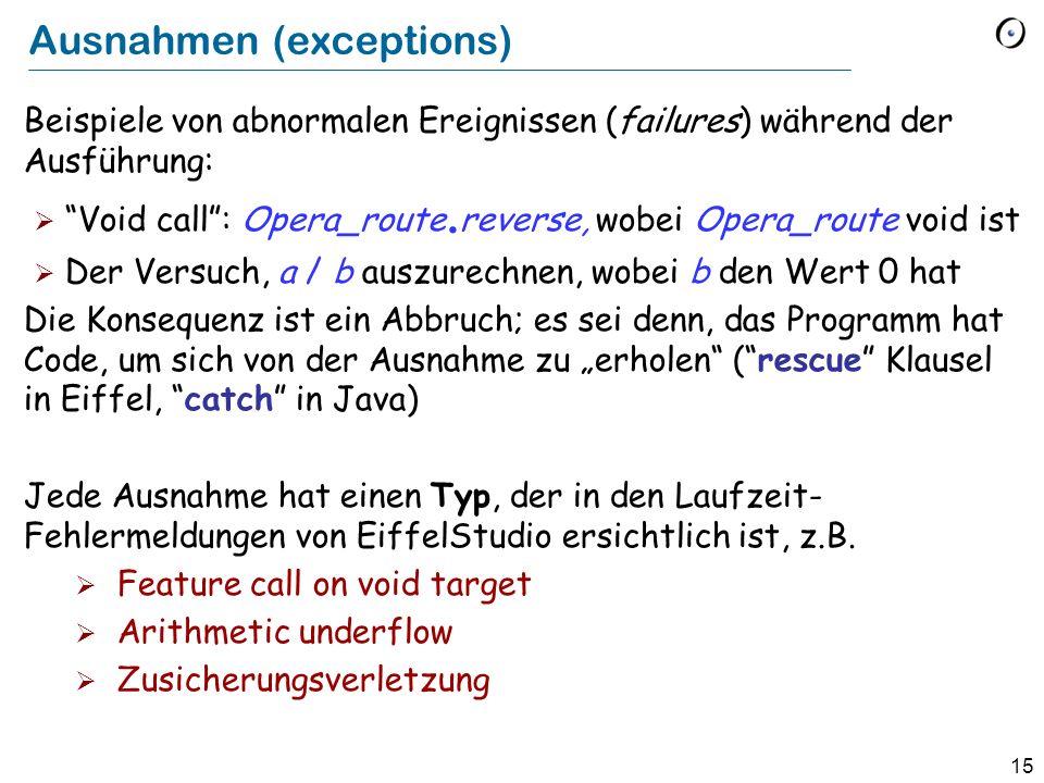 15 Ausnahmen (exceptions) Beispiele von abnormalen Ereignissen (failures) während der Ausführung: Void call: Opera_route.