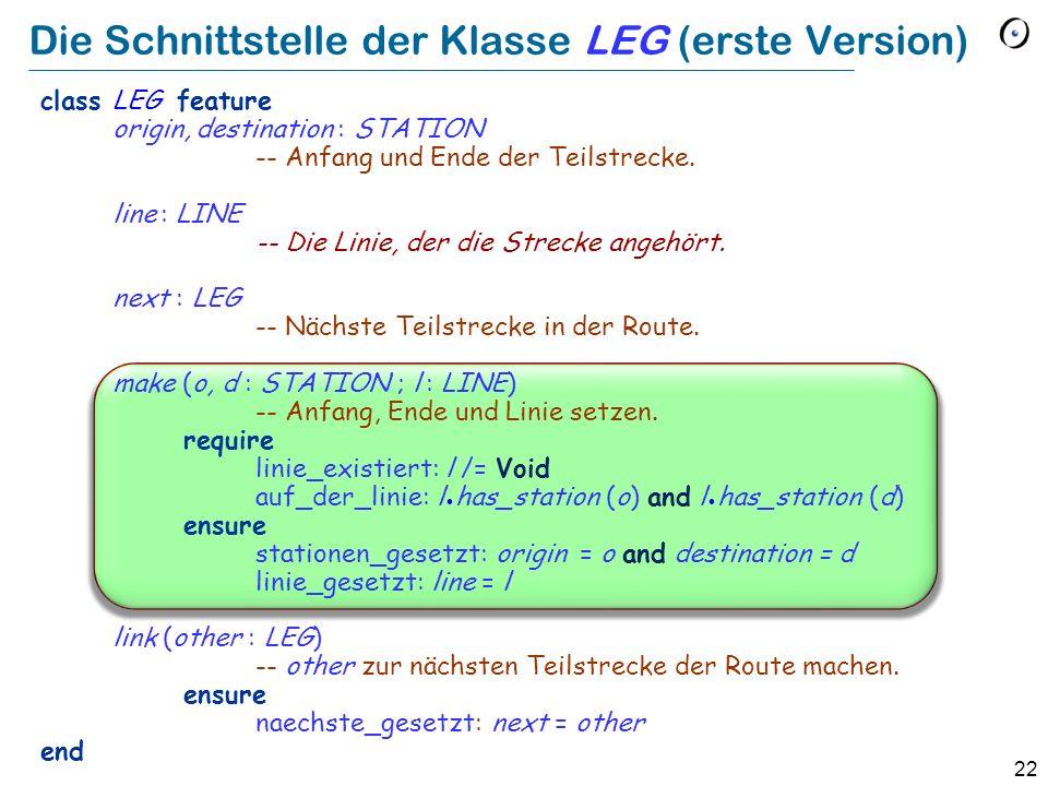 22 Die Schnittstelle der Klasse LEG (erste Version) class LEG feature origin, destination : STATION -- Anfang und Ende der Teilstrecke.