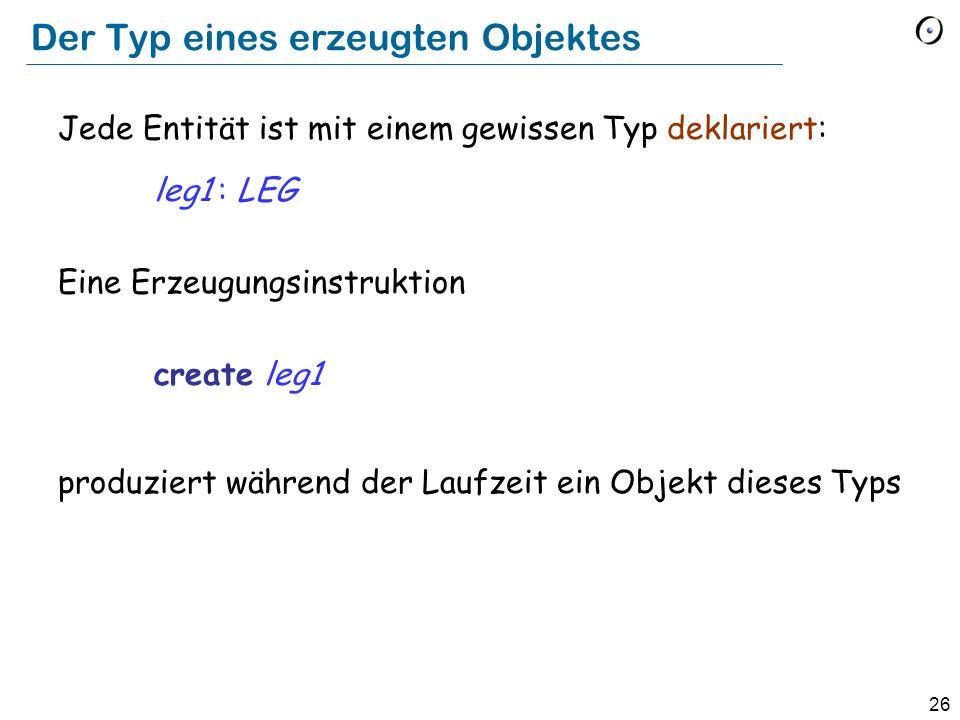 26 Der Typ eines erzeugten Objektes Jede Entität ist mit einem gewissen Typ deklariert: leg1 : LEG Eine Erzeugungsinstruktion create leg1 produziert während der Laufzeit ein Objekt dieses Typs