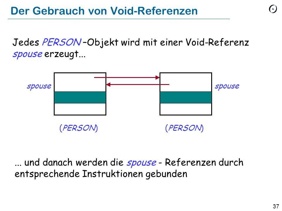 37 Der Gebrauch von Void-Referenzen (PERSON) spouse Jedes PERSON –Objekt wird mit einer Void-Referenz spouse erzeugt......