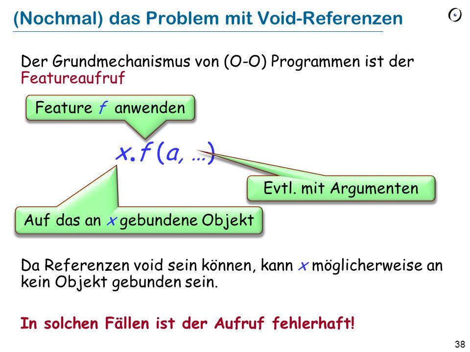 38 (Nochmal) das Problem mit Void-Referenzen Der Grundmechanismus von (O-O) Programmen ist der Featureaufruf x.