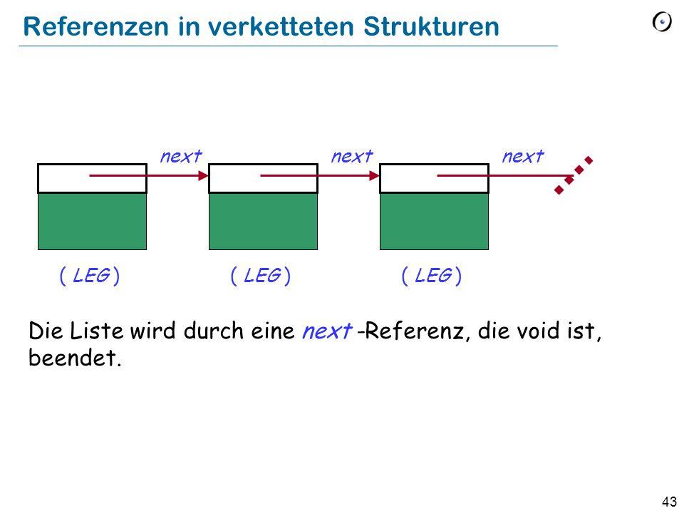 43 Referenzen in verketteten Strukturen Die Liste wird durch eine next -Referenz, die void ist, beendet.