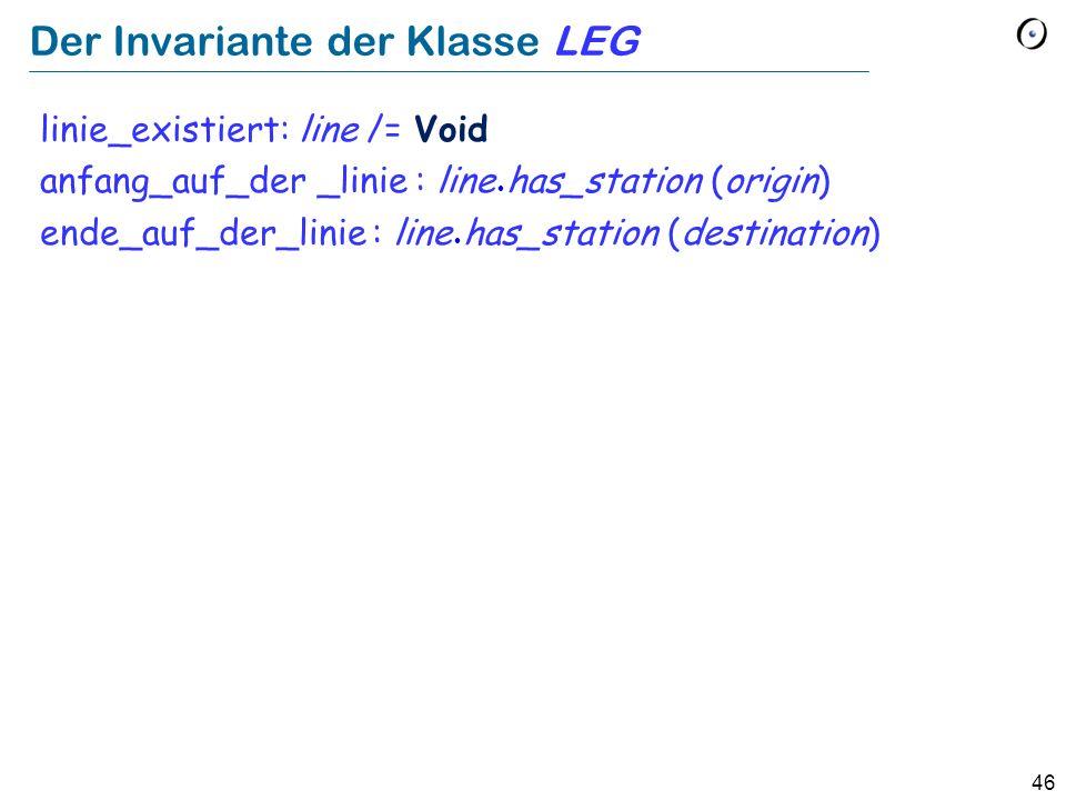 46 Der Invariante der Klasse LEG linie_existiert: line /= Void anfang_auf_der _linie : line has_station (origin) ende_auf_der_linie : line has_station (destination)