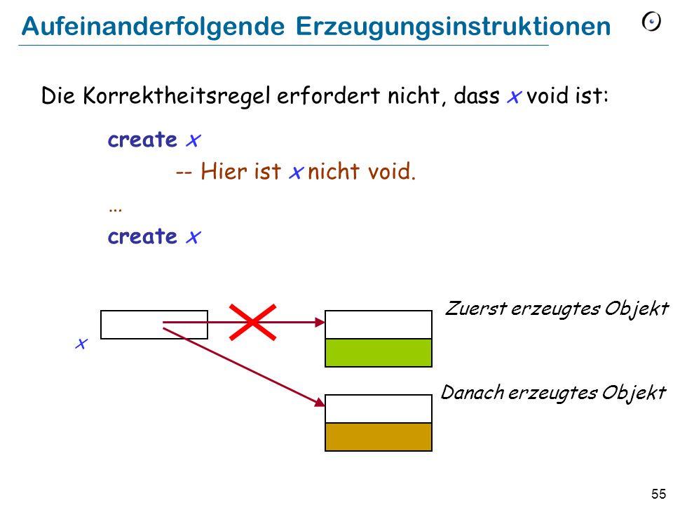 55 Aufeinanderfolgende Erzeugungsinstruktionen Die Korrektheitsregel erfordert nicht, dass x void ist: create x -- Hier ist x nicht void.