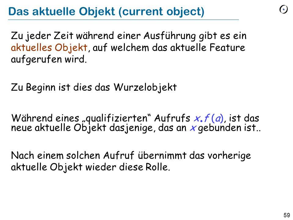 59 Das aktuelle Objekt (current object) Zu jeder Zeit während einer Ausführung gibt es ein aktuelles Objekt, auf welchem das aktuelle Feature aufgerufen wird.