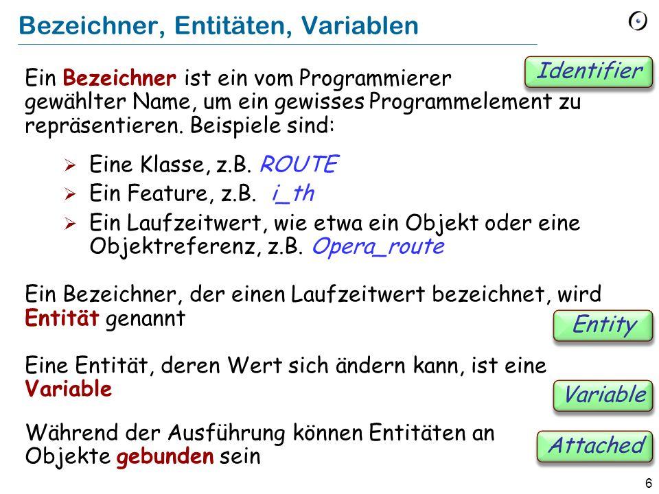 6 Bezeichner, Entitäten, Variablen Ein Bezeichner ist ein vom Programmierer gewählter Name, um ein gewisses Programmelement zu repräsentieren.