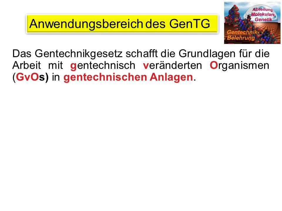 Definitionen aus dem GenTG Gentechnisch veränderter Organismus (GvO): Ein Organismus (mit Ausnahme des Menschen), dessen genetisches Material auf eine Art verändert worden ist, die unter natürlichen Bedingungen nicht vorkommt.