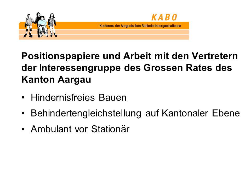 Positionspapiere und Arbeit mit den Vertretern der Interessengruppe des Grossen Rates des Kanton Aargau Hindernisfreies Bauen Behindertengleichstellung auf Kantonaler Ebene Ambulant vor Stationär