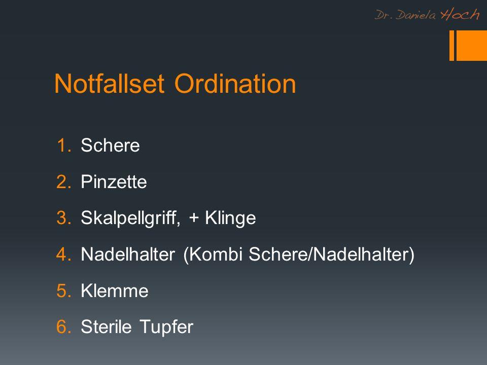 Notfallset Ordination 1.Schere 2.Pinzette 3.Skalpellgriff, + Klinge 4.Nadelhalter (Kombi Schere/Nadelhalter) 5.Klemme 6.Sterile Tupfer