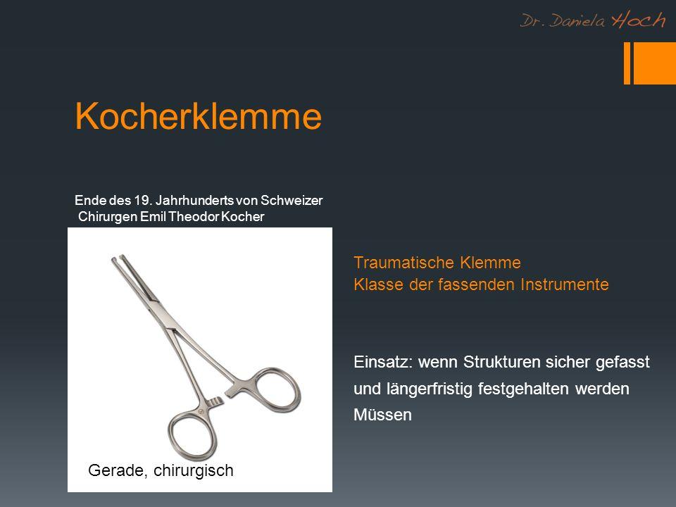 Kocherklemme Gerade, chirurgisch Traumatische Klemme Klasse der fassenden Instrumente Ende des 19. Jahrhunderts von Schweizer Chirurgen Emil Theodor K