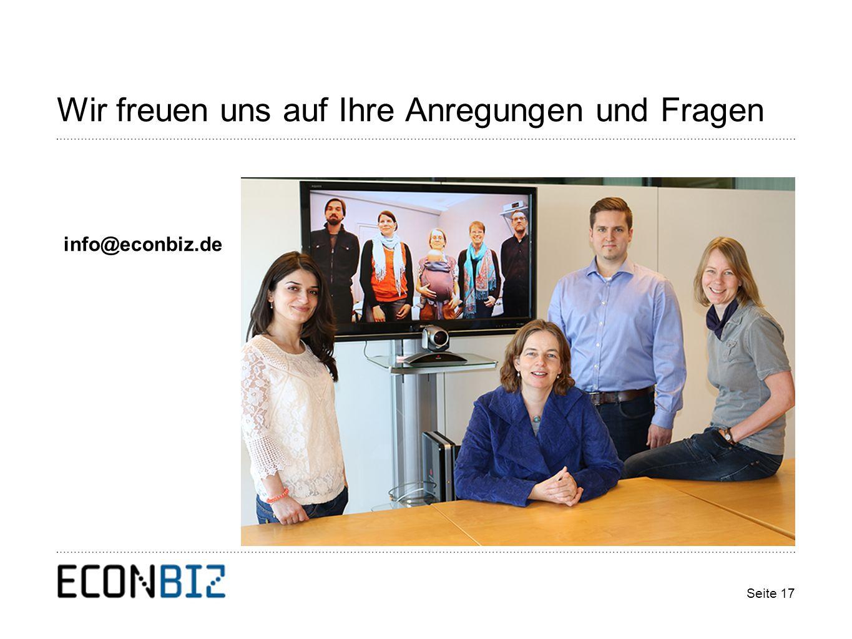 Wir freuen uns auf Ihre Anregungen und Fragen Seite 17 info@econbiz.de