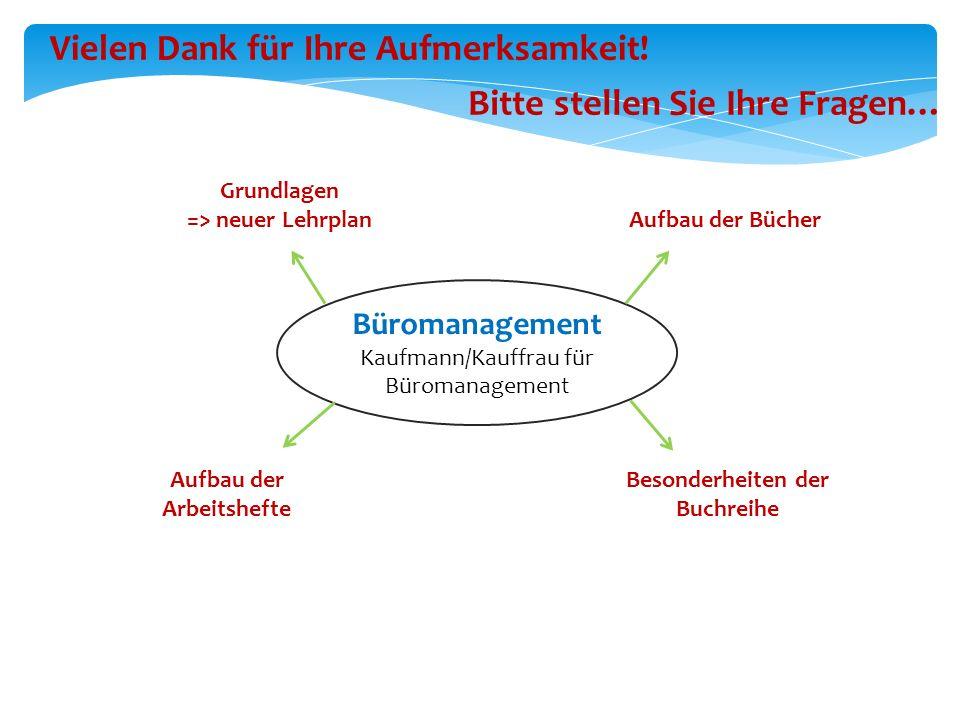 Büromanagement Kaufmann/Kauffrau für Büromanagement Vielen Dank für Ihre Aufmerksamkeit! Bitte stellen Sie Ihre Fragen… Aufbau der Arbeitshefte Aufbau