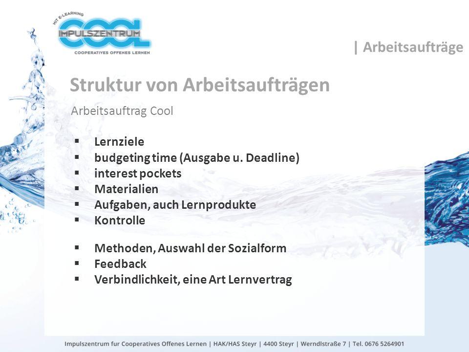 Struktur von Arbeitsaufträgen Arbeitsauftrag Cool Lernziele budgeting time (Ausgabe u. Deadline) interest pockets Materialien Aufgaben, auch Lernprodu