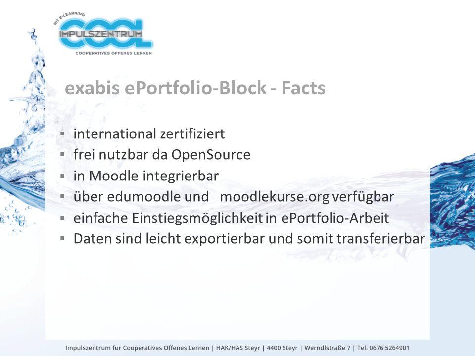 gtn gmbh exabis ePortfolio-Block - Facts international zertifiziert frei nutzbar da OpenSource in Moodle integrierbar über edumoodle und moodlekurse.o